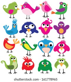 cute birds in vector. Cartoon collection with funny little bird family.