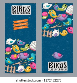 Cute birds vertical banner set. Cute poster for invitation, advertisement, web page. Hand drawn doodle cartoon style spring and summer tropical design concept. Vector illustration.