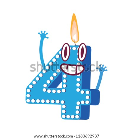 Cute Birthday Candle Number Four 4 Character With Flame At His Head Dancing Typographic Humanized