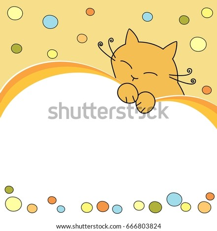 Cute Birthday Card With A Cat Baby Frame Vector Illustration