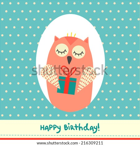 Cute Birthday Card Design Funny Owl Stock Vector Royalty Free