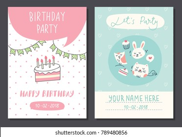 cute birthday card design template