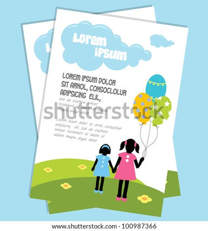 Cute Birthday Card With Girl Having Balloons In Her Hands