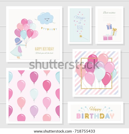 Cute Birthday Cards For Girls With Glitter Elements Included Seamless Pattern Colorful Balloons