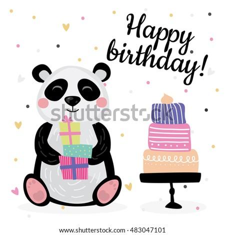 Cute Birthday Greeting Cards Design Panda Stock Vector Royalty Free