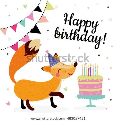 Cute Birthday Greeting Cards Design Fox Stock Vector Royalty Free