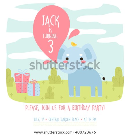 Cute Birthday Invitation Template With Cartoon Baby Elephant Bird And Presents On Grass Background Or Card