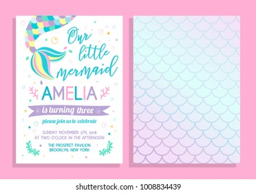 Cute birthday party invitation. Our little mermaid. Vector illustration