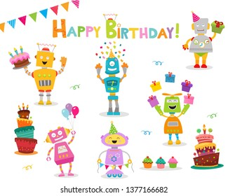 Cute Birthday Robot Characters With Design  Elements