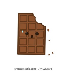 cute bitten chocolate bar vector illustration isolated on white background