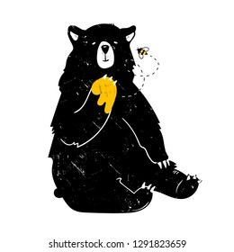 Cute black bear with paw in honey. Hand drawn vector illustration