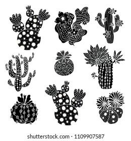 Cute black cactus set.