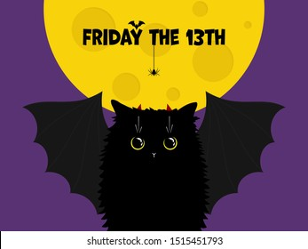 Cute black cat with bat wings on the night background with the Moon and text with spider and bat. Friday the 13th minimal flat illustration. Adorable cartoon cat with yellow eyes. Vector Illustration.