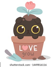 Cute black cat big eyes, in fish bowl. Puss in flowerpot.Love grow. Lovely, funny, so naughty. Gift tag, card, postcard, printing. Vector illustration.