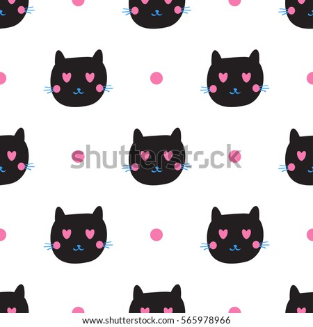Cute Black Cat Emotions Seamless Pattern Stock Vector Royalty Free