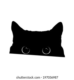 Cute black cat face with big eyes peeking silhouette. Vector illustration.