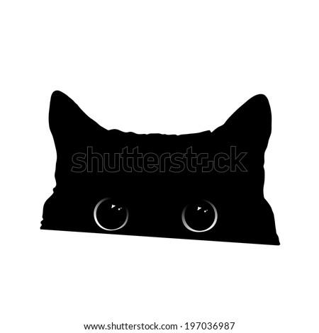 Cute Black Cat Face Big Eyes Stock Vector Royalty Free 197036987