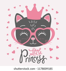 Cute black cat face with crown, pink heart glasses. Little Princess slogan