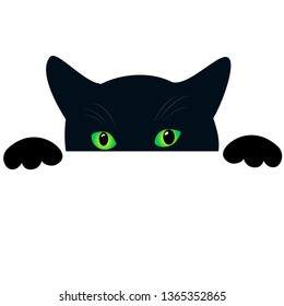 Cute black cat face with green eyes peekings. Isolated white background. Curious funny cat hides and peeps, creative design pattern. Vector poster with animals, cartoon style.