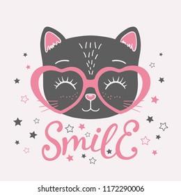 Cute black cat face with pink heart glasses. Smile slogan. Vector illustration for children print design, kids t-shirt, baby wear