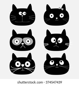 Cute black cat head set. Funny cartoon characters. White background. Isolated. Flat design. Vector illustration
