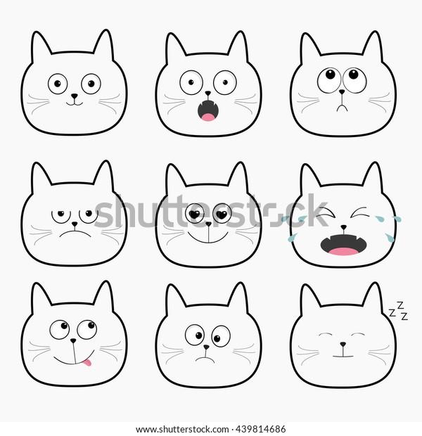 Cute Black Cat Head Set Cartoon Stock Vector Royalty Free 439814686