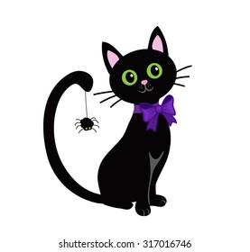 Cute black cat isolated on white background.Halloween