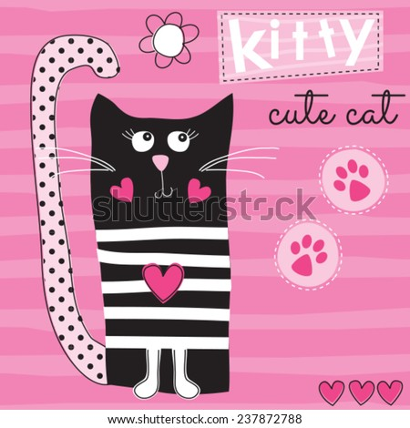 c0956cbbb3d Cute Black Cat Kitty Vector Illustration Vector de stock (libre de ...