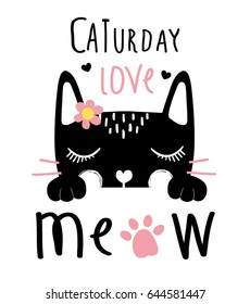 cute black cat and meow slogan vector design.
