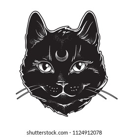Cute black cat with moon on his forehead line art and dot work. Wiccan familiar spirit, halloween or pagan witchcraft theme tapestry print design vector illustration