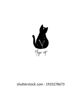 Cute black cat with moon on his forehead line art and stars, branch. Wiccan familiar spirit, halloween or pagan witchcraft theme tapestry print design vector illustration