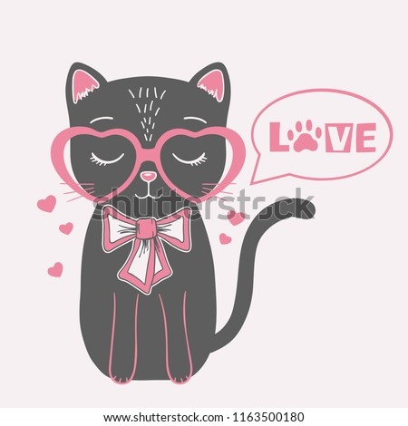 6a7318f0ff81 Cute black cat with pink heart glasses, bow tie. Love slogan - Vector