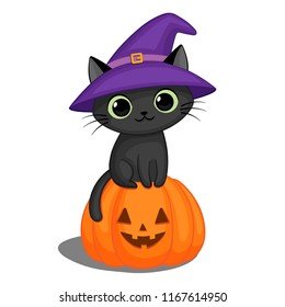 Cute black cat in a witch hat sitting on a Halloween pumpkin
