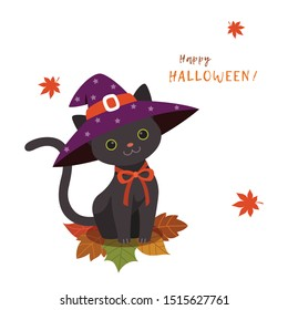 Cute black cat in a witch's hat with maple leaves.Happy Halloween greeting card.