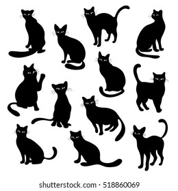 Cute black cats collection, vector silhouette illustrations