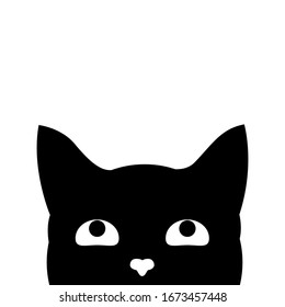 Cute black cat's head. Cat's face that spy on you. Vector illustration