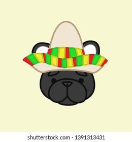 Cute Black French Bulldog Celebrates Cinco de Mayo Wears Sombrero Cartoon Vector Illustration