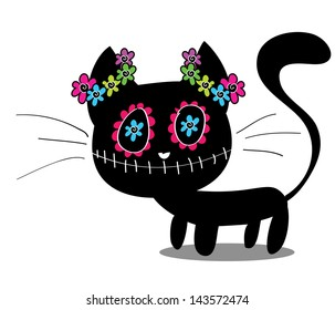 cute black kitten decorated with flowers