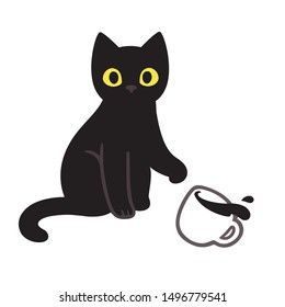 Cute black kitten throwing coffee cup off table. Funny cat breaking things comic illustration, cartoon vector drawing.