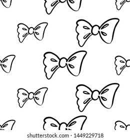 Cute black line seamless pattern with bow. Simple doodle hand drawn art. Vector linear design on white background.
