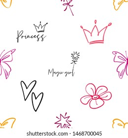 Cute black line seamless pattern with crown, magic girl text, princess, simple flower, bow, butterfly, magic wand, line heart. Simple doodle hand drawn art. Vector linear design on white background.