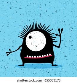 Cute black monster with emotions on grunge aqua blue background. cartoon illustration.