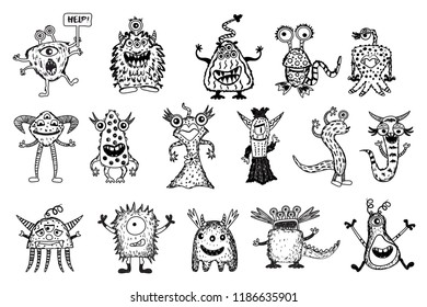 Cute black monster set, isolated on white background, cartoon monsters, doodle style, vector illustration.