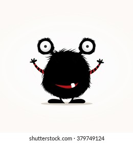 Cute black monster vector illustration