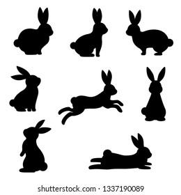 cute black rabbit Silhouette set ,On White Background
