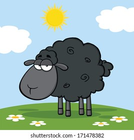 Cute Black Sheep On A Meadow. Vector Illustration