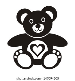 Cute black teddy bear icon with heart on white background