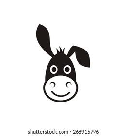 Cute black vector donkey head icon on white