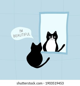 Cute black and white cat looking in the mirror and seeing his reflection. Thoughts of a cat