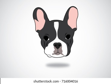 Cute Black & White Frenchie Vector